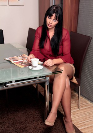image Brunette secretary in stockings need some bbc